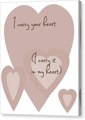 I Carry Your Heart I Carry It In My Heart - Dusky Pinks Canvas Print by Georgia Fowler
