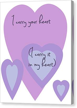I Carry Your Heart I Carry It In My Heart - Lilac Purples Canvas Print by Georgia Fowler