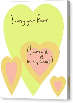 Peaches Canvas Print - I Carry Your Heart I Carry It In My Heart - Yellow And Peach by Georgia Fowler