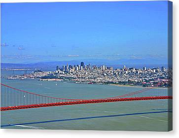 Canvas Print featuring the photograph I Don't See No Stinkin' Fog Golden Gate San Francisco California by Duncan Pearson