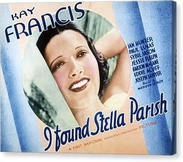 I Found Stella Parish, Kay Francis, 1935 Canvas Print by Everett