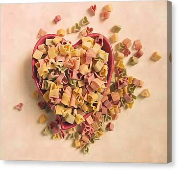 Canvas Print featuring the photograph I Heart Pasta by Robin Dickinson