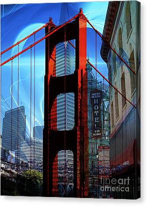 I Left My Heart In San Francisco . Golden Gate Bridge . Transamerica Pyramid . North Beach Canvas Print by Wingsdomain Art and Photography
