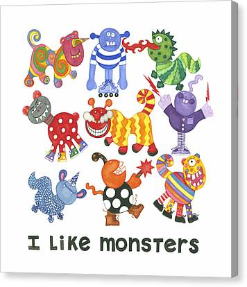 I Like Monsters Canvas Print by Barbara Esposito