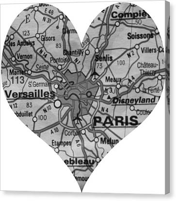 I Love Paris In Black And White Canvas Print by Georgia Fowler
