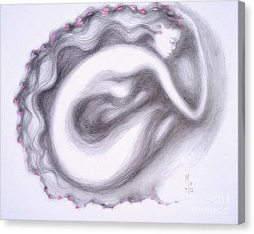 Canvas Print featuring the drawing I Walk Alone by Marat Essex