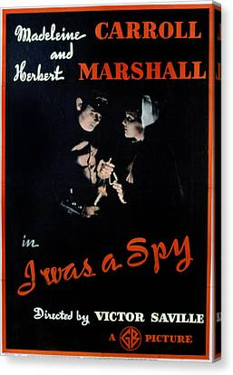 I Was A Spy, Herbert Marshall Canvas Print by Everett