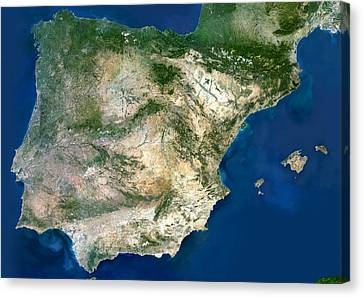 Iberian Peninsula, Satellite Image Canvas Print by Planetobserver