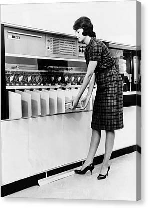 Ibm 1419 Magnetic Character Reader Read Canvas Print by Everett
