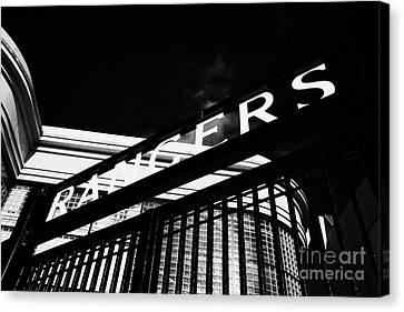 Ibrox Stadium Home Ground To Glasgow Rangers Fc Under Blue Sky Glasgow Scotland Canvas Print by Joe Fox