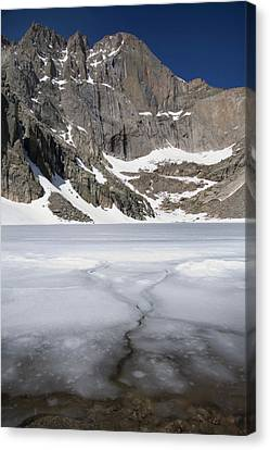 Ice And Snow Still On Chasm Lake Canvas Print by Scott S. Warren