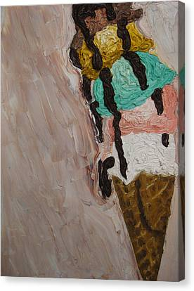 Canvas Print featuring the painting Ice Cream Dripping And Falling Over by M Zimmerman