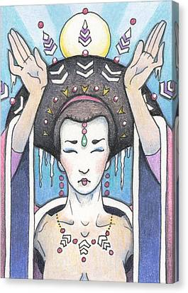 Ice Dragon Geisha Canvas Print by Amy S Turner