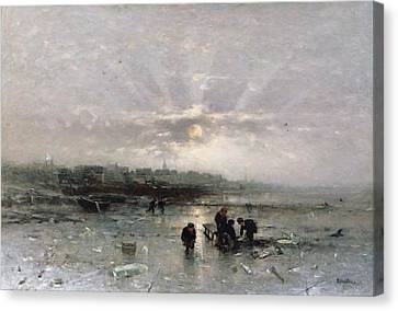 Ice Fishing Canvas Print by Ludwig Munthe