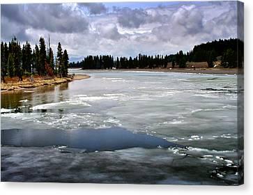 Ice On The Yellowstone River Canvas Print by Ellen Heaverlo