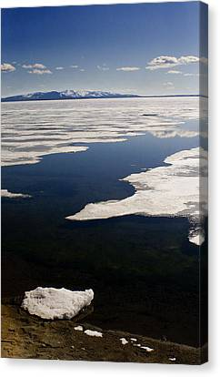 Canvas Print featuring the photograph Ice On Yellowstone Lake by J L Woody Wooden
