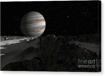 Ice Ridges On Jupiters Moon, Europa Canvas Print by Ron Miller