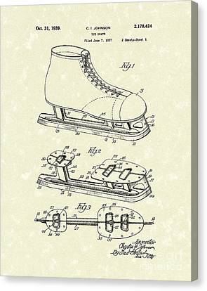 Ice Skate 1939 Patent Art Canvas Print by Prior Art Design
