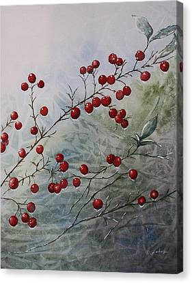 Iced Holly Canvas Print