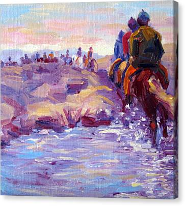 Icelandic Horse Trail Ride Canvas Print by Terry  Chacon