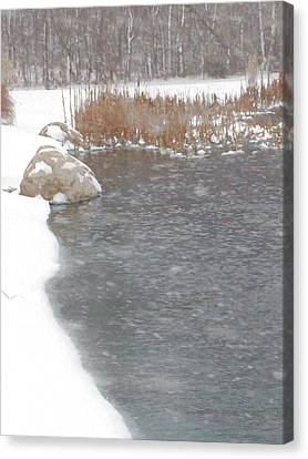 Canvas Print featuring the photograph Icy Pond by John Crothers