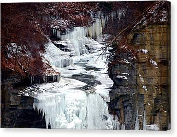 Icy Waterfalls Canvas Print by Paul Ge