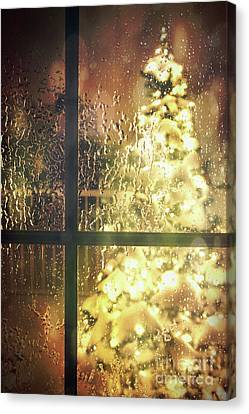 Icy Window With Holiday Tree Full Of Lights Canvas Print by Sandra Cunningham