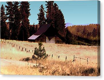 Idaho Barn Painting Canvas Print by Mary Gaines
