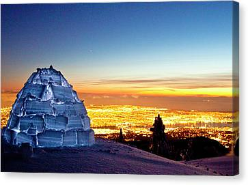 Igloo And Vancouver City Lights Canvas Print by Christopher Kimmel
