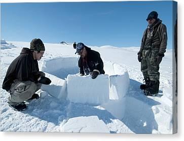 Igloo Building, Arctic Canvas Print