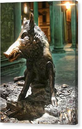 Il Porcellino - Florence Italy Boar Statue Canvas Print by Gregory Dyer
