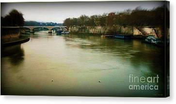 Canvas Print featuring the photograph il Tevere in una sera invernale by Mariana Costa Weldon