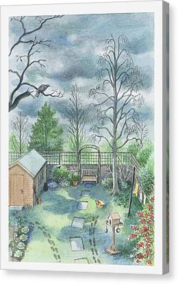 Illustration Of A Dark Clouds Over A Garden Canvas Print by Dorling Kindersley