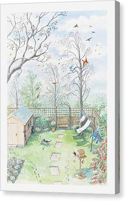 Illustration Of A Garden As A Storm Is Developing Canvas Print by Dorling Kindersley