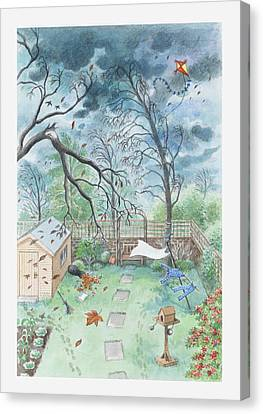 Illustration Of A Garden During A Storm Canvas Print by Dorling Kindersley