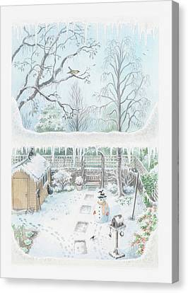 Illustration Of A Garden In Winter Seen Through A Window Canvas Print by Dorling Kindersley