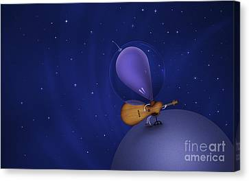 Illustration Of A Martian Playing Canvas Print by Vlad Gerasimov