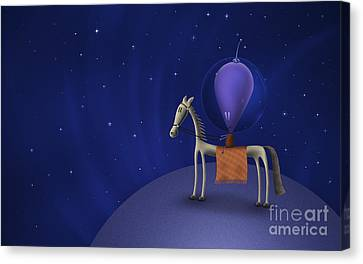 Illustration Of A Martian Riding Canvas Print by Vlad Gerasimov