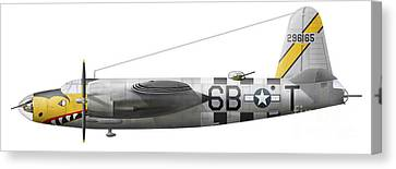 Illustration Of A Martin-b-26 Marauder Canvas Print by Chris Sandham-Bailey