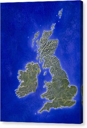 Illustration Of A Relief Map Of The British Isles Canvas Print by Julian Baum