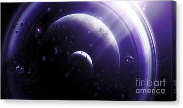 Illustration Of A Ringed-planet Viewed Canvas Print by Kevin Lafin