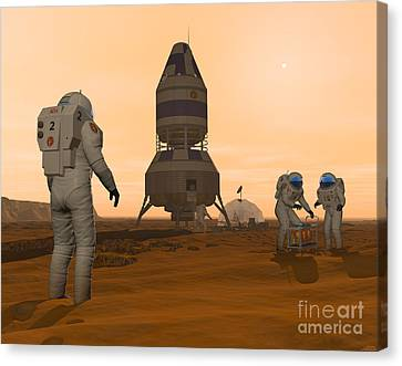 Illustration Of Astronauts Setting Canvas Print by Walter Myers