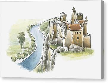 Illustration Of Chateau De Beynac, Beynac-et-cazenac, Dordogne, France Canvas Print