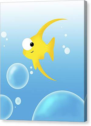 Computer Graphics Canvas Print - Illustration Of Fish And Bubbles by Chris Knorr
