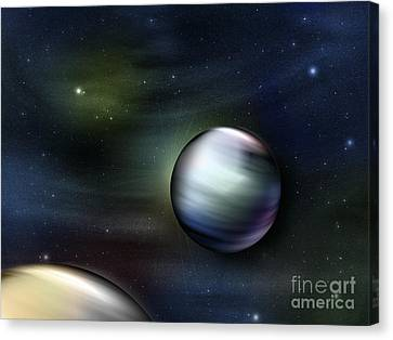 Illustration Of Planets In Outer Space Canvas Print by Vlad Gerasimov