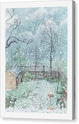 Illustration Of Rain Or Wet Snow Against A Window Looking Out Onto A Garden Canvas Print by Dorling Kindersley