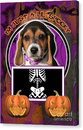 I'm Just A Lil' Spooky Beagle Puppy Canvas Print by Renae Laughner
