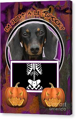 I'm Just A Lil' Spooky Dachshund Canvas Print by Renae Laughner
