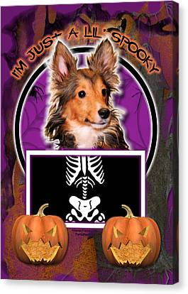 I'm Just A Lil' Spooky Sheltie Puppy Canvas Print by Renae Laughner