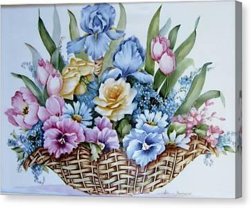 Image 1119 Flower Basket Canvas Print by Wilma Manhardt